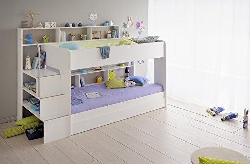 90×200 Kinder Etagenbett Weiß/grau mit Bettkasten Treppe und ...