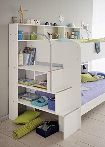 90×200 Kinder Etagenbett Weiß/grau mit Bettkasten Treppe und ... | {Kinderhochbett mit treppe 8}