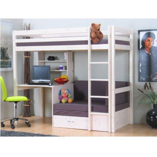Hochbett mit schreibtisch für erwachsene  Thuka Hochbett 90×200 Kiefer massiv Bett Kinderbett Gästebett ...