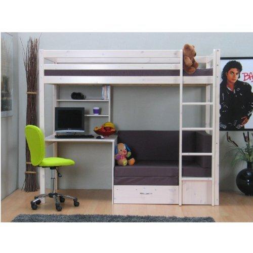 thuka hochbett 90 200 kiefer massiv bett kinderbett g stebett schreibtisch ihr hochbett ein. Black Bedroom Furniture Sets. Home Design Ideas