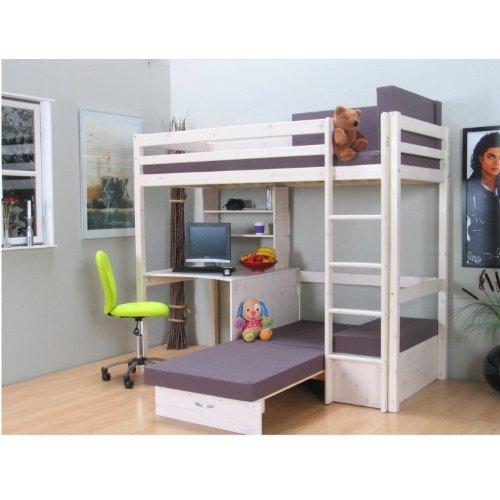Hochbett mit schreibtisch und sofa  Thuka Hochbett 90×200 Kiefer massiv Bett Kinderbett Gästebett ...